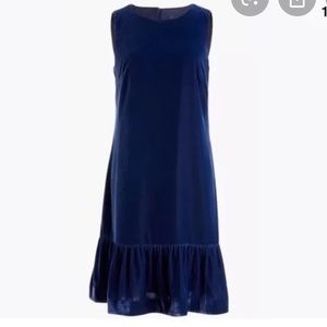 J. Crew navy velvet ruffle hem dress 2